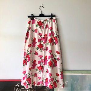 VINTAGE 90s Button Front Floral Maxi Skirt 14